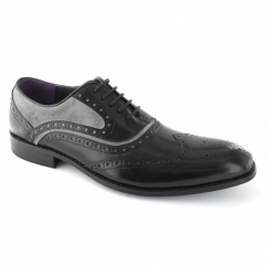 AZOR Mens Lace Up Leather/Suede Brogue Oxford Shoes Black/Grey