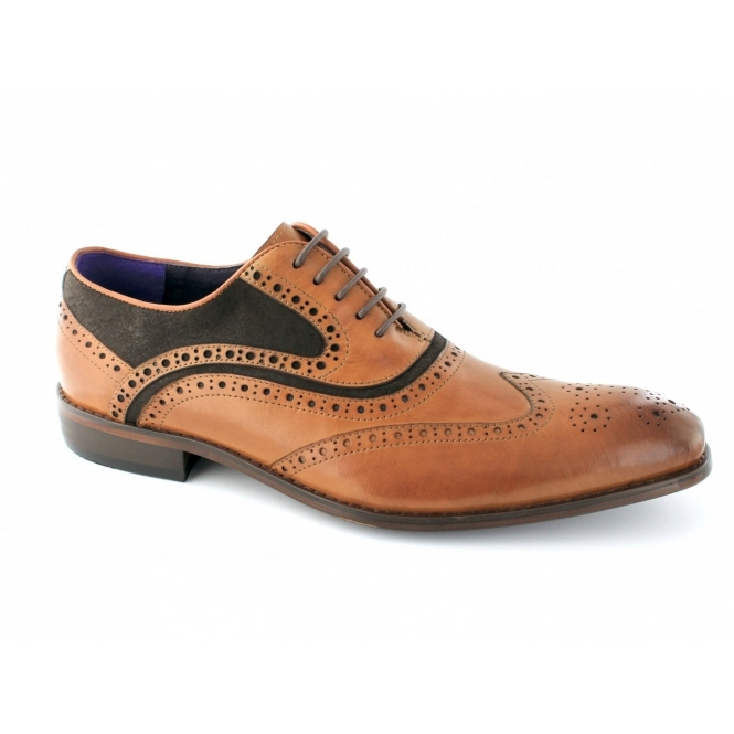 Gucinari AZOR Mens Lace Up Leather/Suede Brogue Oxford Shoes Tan/Brown
