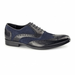 MILLER Mens Leather Oxford Brogues Black/Blue