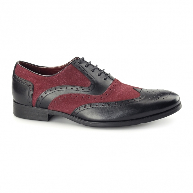 Azor MILLER Mens Leather Oxford Brogues Black/Burgundy