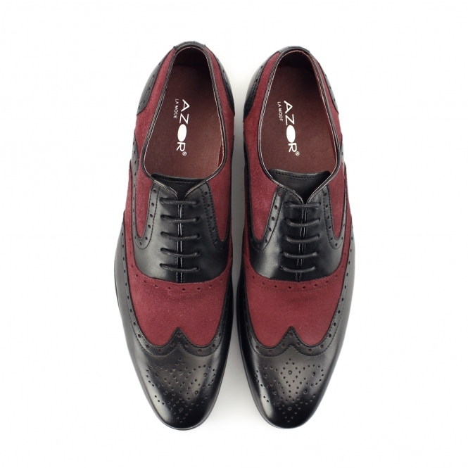 59c369c05a5 AZOR MILLER Mens Leather Oxford Brogues Black Burgundy