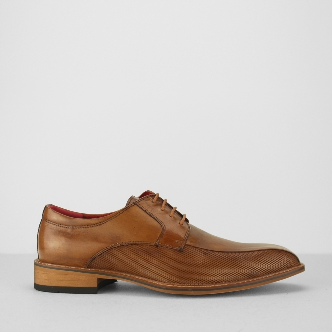Azor PALAZZO Mens Leather Derby Shoes Tan