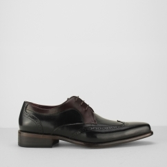 AZOR SARDINIA Mens Leather Derby Brogues Black/Burgundy