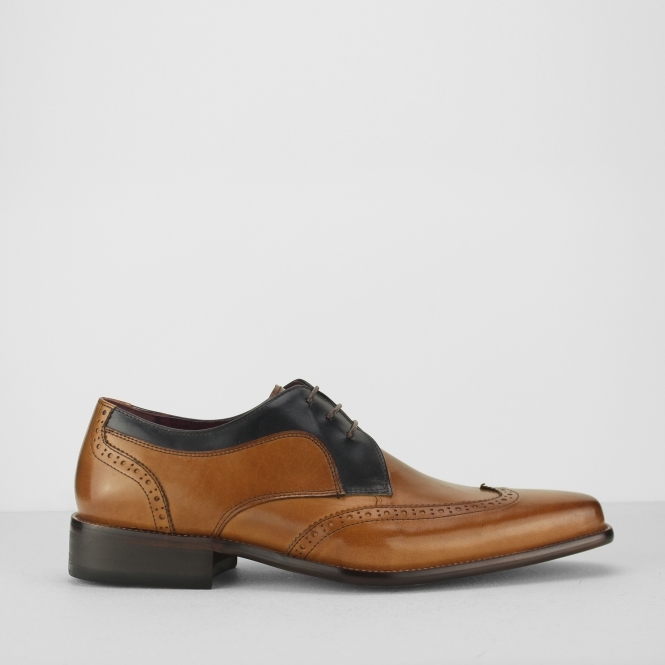 SARDINIA Mens Leather Derby Brogues Tan/Navy