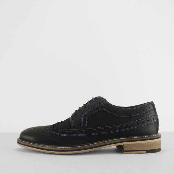 Azor WENDELL Mens Leather Wingtip Toe Cap Contrast Stitch Brogue Shoes Black