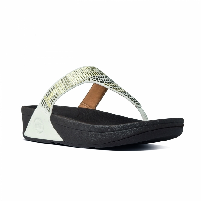 FitFlop™ AZTEK CHADA™ Ladies Leather Toe Post Sandals Urban White