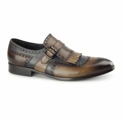 AZZURI Mens Leather Brogues Brown/Blue