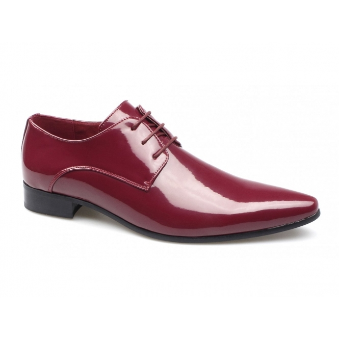 Rossellini AZZURRA Mens Patent Faux Leather Pointed Shoes Red