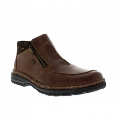 B0273-26 Mens Leather Extra Wide Fit Ankle Boots Brown