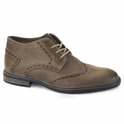 B1142-25 Mens Fleece Lined Brogue Shoes Brown