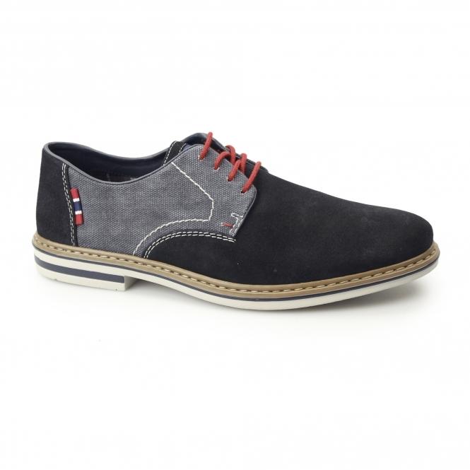 25ddf299ea Rieker B1402-14 Mens Suede Wide Fit Lace-Up Smart Shoes Navy