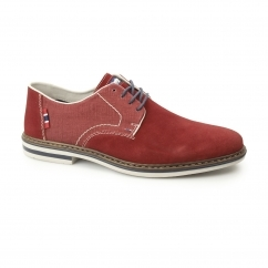 Rieker B1402-33 Mens Suede Wide Fit Lace-Up Smart Shoes Red
