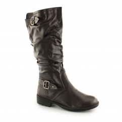 B40001 Ladies Soft Knee High Tall Boots Brown