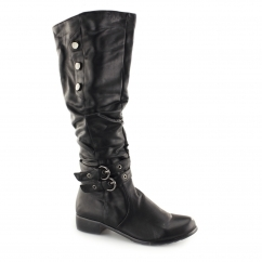 B40021 Ladies Soft Knee High Tall Boots Black