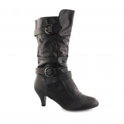 B40029 Ladies Soft Calf Length Heeled Boots Black