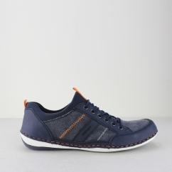 Rieker B9265-15 Mens Lace Up Casual Trainers Shoes Navy Blue