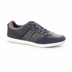 BAJA Mens PU/Canvas Trainers Navy Blazer