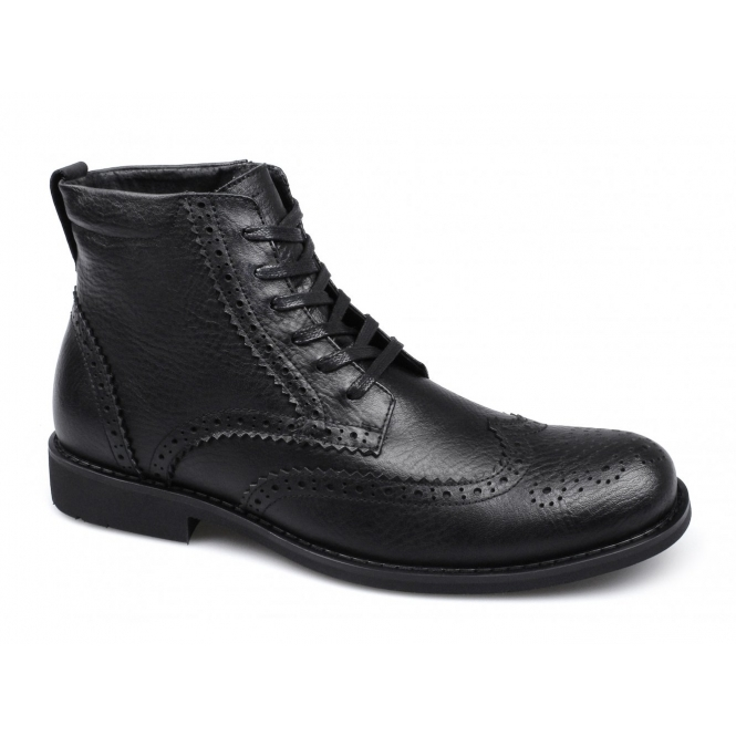 Front BAKER Mens Leather Brogue Derby Boots Black