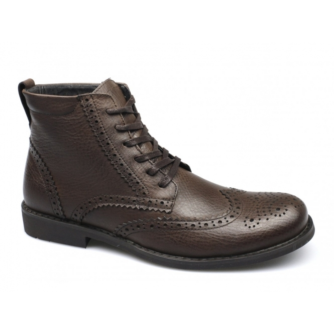 Front BAKER Mens Leather Brogue Derby Boots Brown
