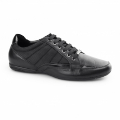 CHROME II Mens Leather/Webbing Lace Up Trainer Shoes Black
