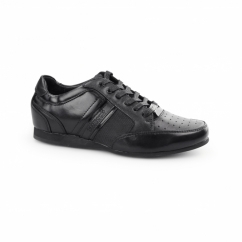 FELLINI Boys Leather Lace Up Trainer Shoes Black
