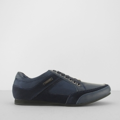 PHOENIX Mens Leather Lace Up Trainer Shoes Navy