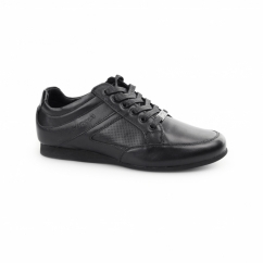 TRENTO Boys Leather Lace Up Trainer Shoes Black