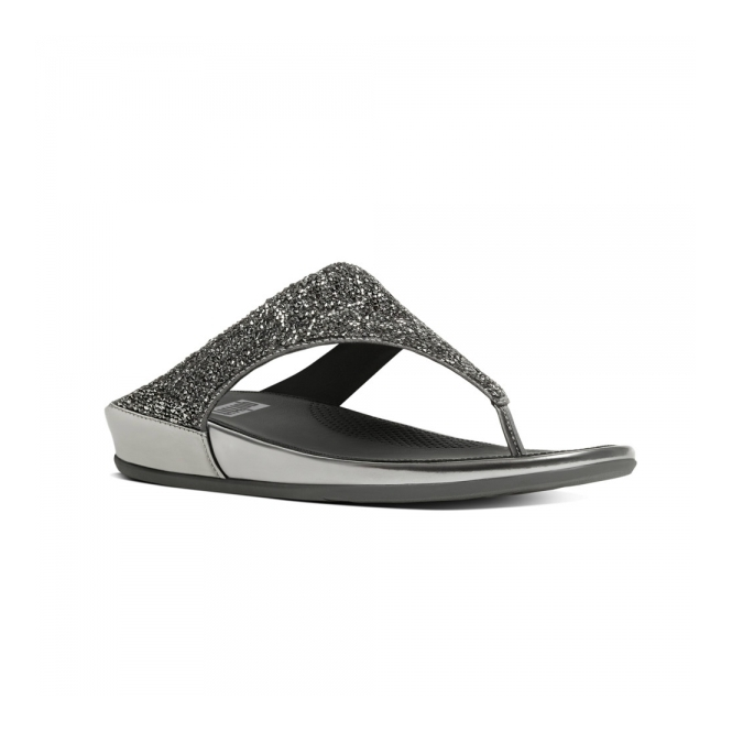FitFlop™ BANDA CRYSTAL™ Ladies Toe Post Embellished Sandals Pewter