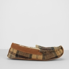 Barbour BETSY Ladies Moccasin Slippers Camel Tartan