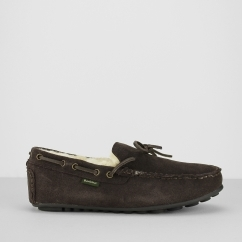 Barbour HALOM Mens Suede Moccasin Slippers Brown