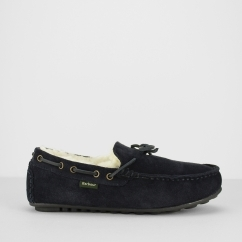 Barbour HALOM Mens Suede Moccasin Slippers Navy