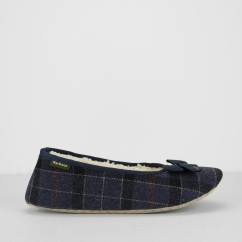 Barbour LILY Ladies Ballerina Slippers Navy Tartan | House Of Slippers