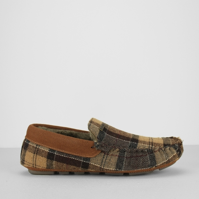Barbour MONTY THINSULATE Mens Moccasin Slippers Camel Tartan