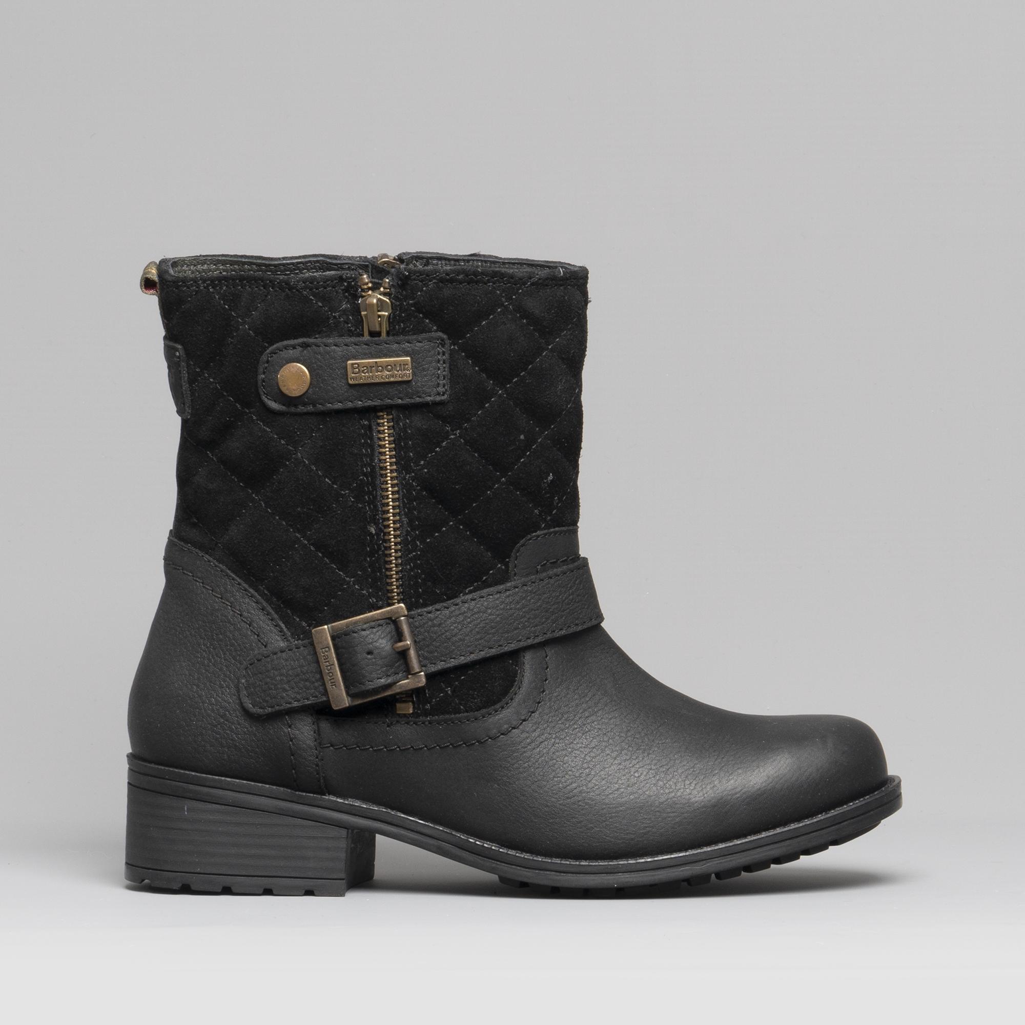 c8a865c55d8 Barbour SIENNA Ladies Leather Biker Boots Black