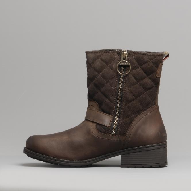 32709fb2071 SIENNA Ladies Leather Biker Boots Dark Brown