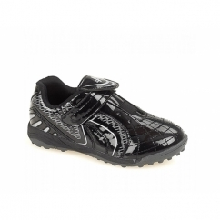 BARCELONA Boys Velcro Astroturf Shiny Football Trainers Black