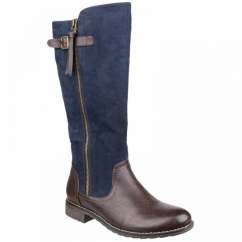 BARI Ladies Faux Leather Knee High Boots Navy