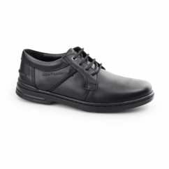 BARNET HANSTON Mens Leather Dual Fit Derby Shoes Black