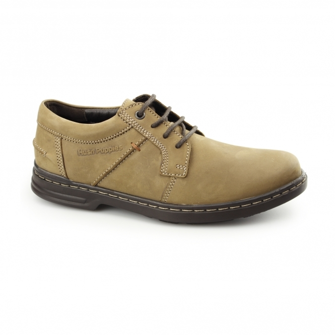 Hush Puppies BARNET HANSTON Mens Nubuck Dual Fit Derby Shoes Taupe