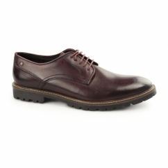 Base London BARRAGE Mens Washed Leather Derby Shoes Bordeaux