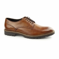 Base London BARRAGE Mens Washed Leather Derby Shoes Tan