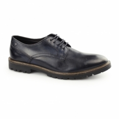 BARRAGE Mens Washed Leather Derby Shoes Blue