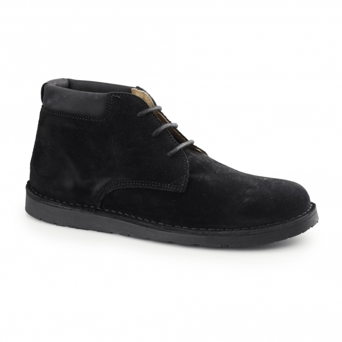 Hush Puppies BARRICANE Mens Suede Desert Boots Black
