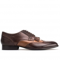 Base London BARTLEY BROGUE Mens Leather Lace Up Shoes Burnished Tan/Cocoa
