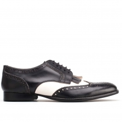 Base London BARTLEY BROGUE Mens Lace Shoes Black/White