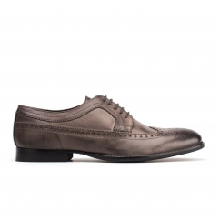 Base London BAILEY Mens Burnished Leather Brogue Shoes Grey