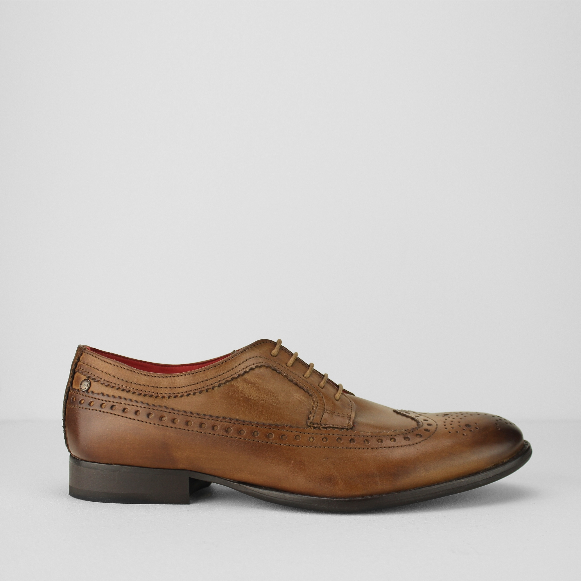 Base London BAILEY Mens Burnished Leather Office Smart Dress Brogue Shoes Tan