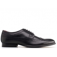 Base London BAILEY Mens Soft Grain Leather Brogue Shoes Black