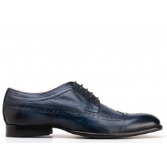 Base London BAILEY Mens Soft Grain Leather Brogue Shoes Blue