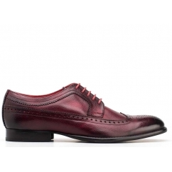 Base London BAILEY Mens Soft Grain Leather Brogue Shoes Bordo